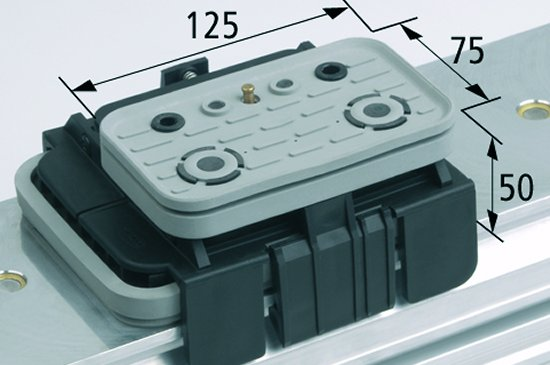 Vakuový blok VCBL-K1 TV 125x75 H=50 mm L (podélný) snímač hrany