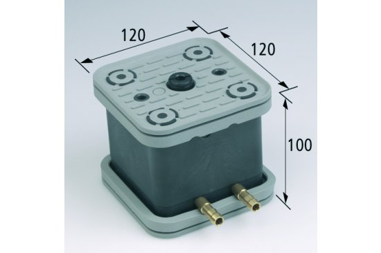 Vakuový blok VCBL-G TV, AS 120x120 H = 100 s koncovým ventilem a upínacím systémem