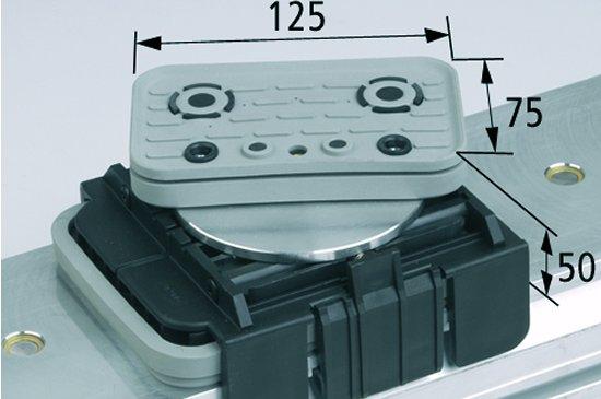 Vakuový blok VCBL-K1 125x75 H = 50 mm OBR. Horní odsávání otočené o 360 stupňů