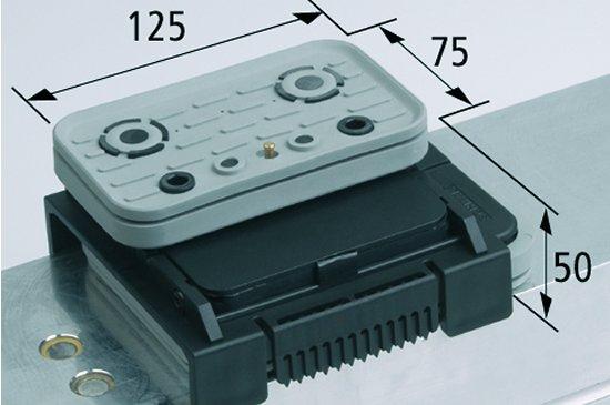 Vakuový blokVCBL-K2 TV 125x75 H=50 mm L (podélný) s mezním sensorem