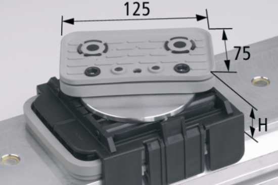 Vakuový blok VCBL-K1 125x75 H = 85 mm, horní odsávání otočené o 360 stupňů