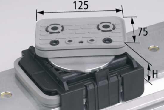Vakuový blok VCBL-K1 125x75 H = 125 mm, horní odsávání otočené o 360 stupňů